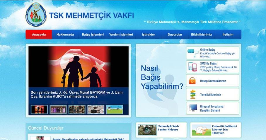 TSK Mehmetçik Vakfı web sayfası