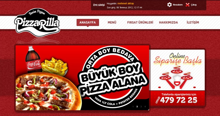 Pizzarella Pizza Restaurant Web Sitesi